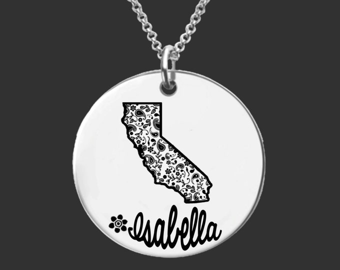 California | State Necklace | Bridesmaid Gifts | Friend Gift | Daughter Gift | Best Friend Gifts | Personalized Gifts | Korena Loves