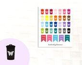 Trash Can Stickers, 34 Planner Stickers, Rubish Day, Recycle Day