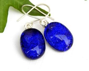 Cobalt Blue Dichroic Glass Drop Earrings, Fused Glass Jewelry, Royal Blue Art Glass Dangle Earrings on 925 Sterling Silver Earwires