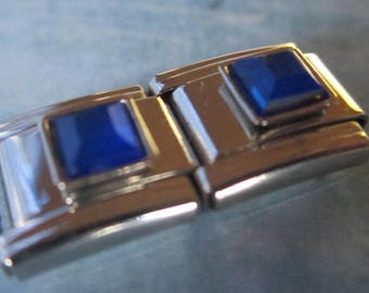 September Birthstone Sapphire Italian Style Nomination Bracelet Charm Stainless Steel Bracelet Making Silver Toned single charm