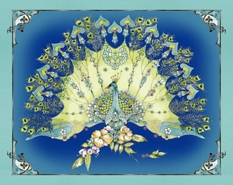 """Pretty as a Peacock - 36"""" Quilting Panel - blue green teal purple - Kate Follows for Quilting Treasures"""