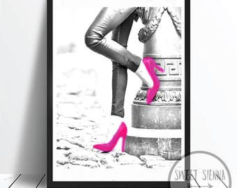 Fashion Print, Fashion Girl Print, High Heel Print, stilettos wall art, scandi & nordic decor, wall art, monochrome print, wall decor- 8x10'