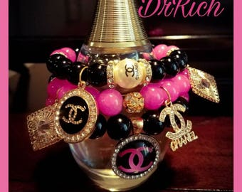 Pink and Black Chanel Inspired Stack w/ Jade Beads