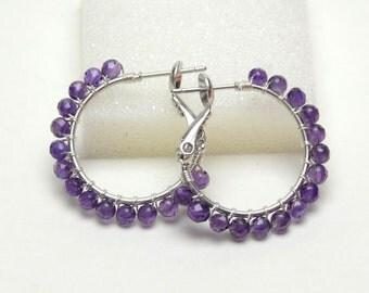 "AAA Amethyst Earrings - Sterling Silver Wire Wrapped Hoops with Posts & Leverbacks - Purple Gemstone, Silver Plated Hoops (20mm, Beaded 1"")"