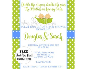 Two Peas In A Pod Baby Shower Invitation, Two Peas In A Pod Invitation, Twins Baby Shower Invitation, Boy Twins Invitation