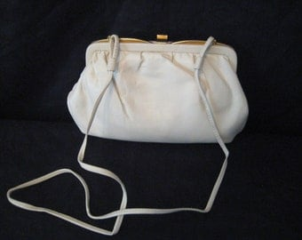 Cream leather handbag, ivory shoulder bag, off white leather formal clutch, small compartment purse, Empire Orr, bags and purses, 1402