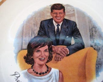 President John F. Kennedy and Jacqueline Kennedy souvenir plate, Mr. and Mrs. Kennedy, president souvenir plate, collectible