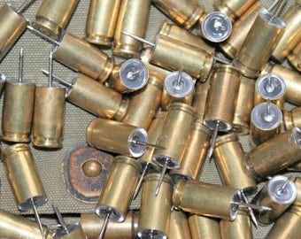 9MM LUGER Bullet Push Pins Cork Board Spent Shells Brass Casings Thumb Tacks You Choose Quantity