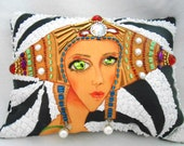 """BEADED EMPRESS Portrait Pillow, Whimsical Imaginary Empress, 10""""x 7.5"""", My Original Painting Printed on Fabric, Beaded, Free Shipping"""