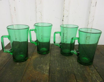 Vintage Emerald Green Handblown Drinking Glasses with Handle HOLIDAYS