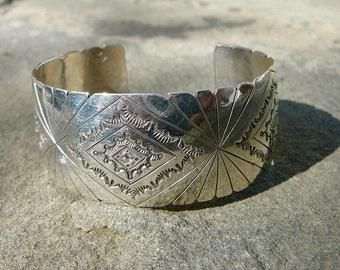 Native American Silver,Vintage Navajo Bracelet,Sterling Silver Stamped Cuff,Handmade Artisan Signed Navajo Jewelry,Vintage Navajo Jewelry