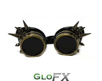 GloFX Brass Spike Padded Steampunk Goggles Rave Welding Cyber Punk Goth Dieselpunk Glasses