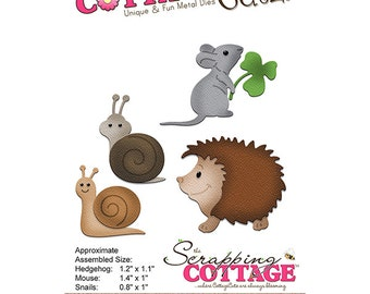 CottageCutz - Forest Critters Die - Hedgehog - Mouse - Snails - .8in To 1.4in