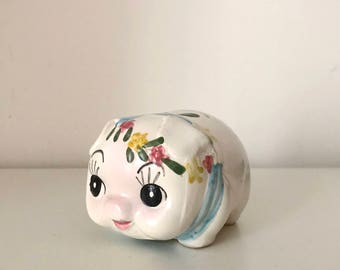 Vintage little flower pig ceramic figurines