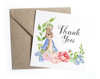 Thank you Cards, Baby Shower Christening Mitzvah Children's Party Birthday - Peter Rabbit, Beatrix Potter