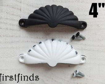 4 Drawer Pulls Scalloped Cup Handles Bin Hardware Cupboard Kitchen Cabinet Painted Black White Furniture Distressed 4inch ITEM DETAIL BELOW