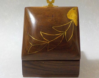 Brass Leaf Motif Hand Crafted Wooden Box from India BX-13