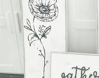 Anemone flower stem black and white wooden sign