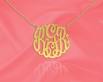 Monogram Necklace .75 inch Handcrafted Designer 24K Gold Plated Silver Monogram Initial Necklace - Made in USA