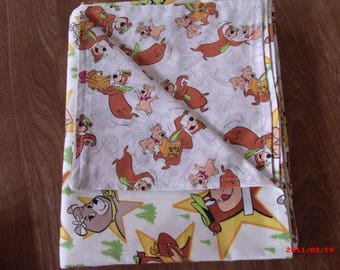 Yogi Bear and Friends Reversable Baby Blanket 100% cotton 44 X 33 inches