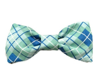 Blue Hue Plaid dog bow tie, plaid dog bow tie, plaid bow tie, blue dog tie, blue bow tie