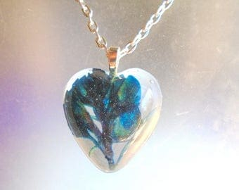 Texas Bluebonnet Real Pressed Flower Jewelry Resin Heart Pendant Necklace