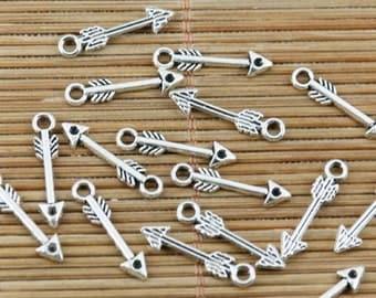 100pcs tibetan sivler plated little arrow design charms EF2356