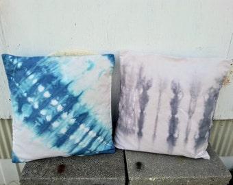 18 x 18 Natural Canvas Shibori Dyed Throw/Decorative Pillow Cover