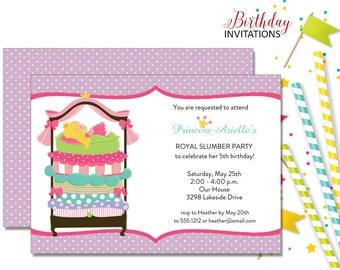 Princess Pea Slumber Party Invitation | Kids Birthday | Printable Digital File | KBI373DIY