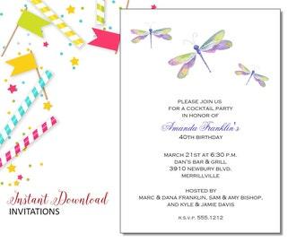 Dragonfly Invitation | Adult Birthday | Printable Editable Digital PDF File | Instant Download | ABI302DIY