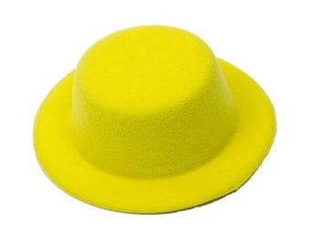"5"" Yellow Mini Top Hat Fascinator Base - Available in 14 Colors"