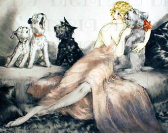 RARE! SINGING Dogs! Louis ICART. Vintage Illustration. Doggy Dog Digital Download. Vintage Deco Flapper Print.
