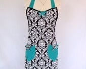 Damask Retro Apron with Teal in Classic Cut