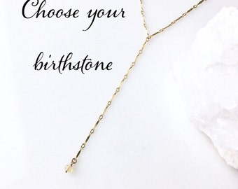 Birthstone Y Necklace / Modern Custom Birthstone Necklace Gift for Wife, Mom, Daughter, Sister / Trendy Gold Jewelry Gifts for Her