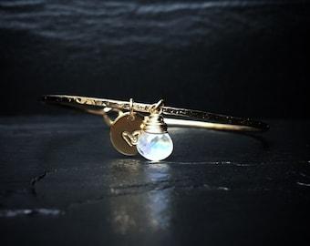 Genuine Rainbow Moonstone Charm Bangle / June Birthstone Bracelet / June Birthday Gift for Mom / 14k Gold Hook Bangle / Rose Gold /Sterling