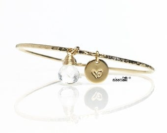 Crystal Quartz Bangle / Personalized Charm Bangle / April Birthstone / New Mom Gift / Mothers Jewelry / Genuine Quartz / Bridesmaid Gift