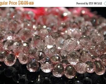 Sale AAA Pale Mystic pink quartz teardrop gemstone briolette- faceted pink quartz tear drop focal briolette- set of 6 PCs- 11-14.5 mm No.503