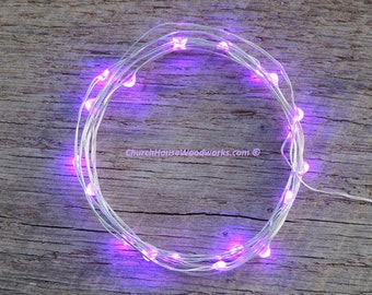 Purple LED Battery Operated Fairy Lights, Rustic Wedding Decor, Room Decor, 6.6 ft SILVER Wire Purple