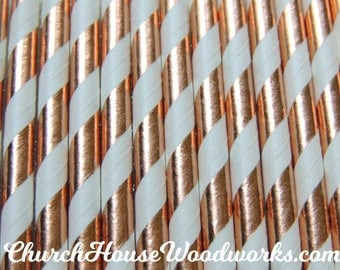 25 Rose Gold STRIPED Copper Paper Straws: Wedding, Baby Shower, Birthday Party, Bridal Shower, Wedding Venue, Table Decor, Rose Gold Decor