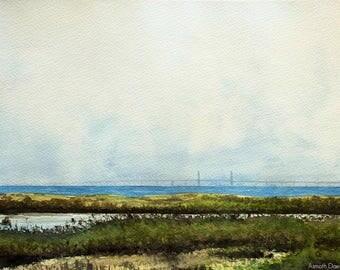 "Minimalist Landscape Painting, Watercolour 9"" x 12"" - Verso Øresund Bridge"