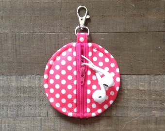Circle Zip Earbud Pouch / Coin Purse - Hot Pink and White Polka Dots