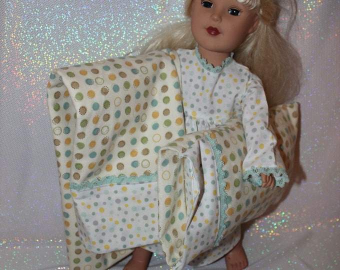 Doll Bedding, 18 Inch Doll Bedding,  Includes NightGown, Flannel Blanket, Pillowcase and Pillow Free Shipping