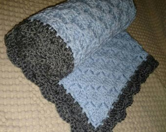 Ready to ship! Crochet baby blanket Baby blue and Grey stroller blanket