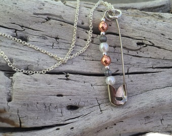 Silver and Copper Safety Pin Necklace