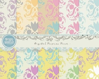 ON SALE Digital Scrapbooking Papers pack, 12x 12 in , 300 dpi ( 3600X 3600 ) Cu ok vol.30 Pattern - Instant Download
