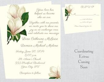 Magnolia Wedding Invitation and RSVP