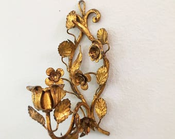 Vintage Italian Gold Gilt Tole Flower and Leaf  Candle Sconce, Candle Holder,Hollywood Regency Glam, Italian Florentine Tole MCM