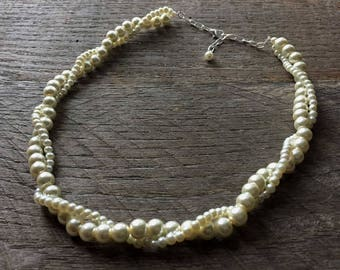 SALE Yellow Ivory Pearl Necklace Bridal Necklace Twisted Clusters on Silver or Gold Chain