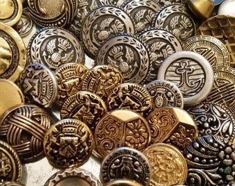 Mixed Lot of 76 Metal and Metal Effect Vintage Buttons