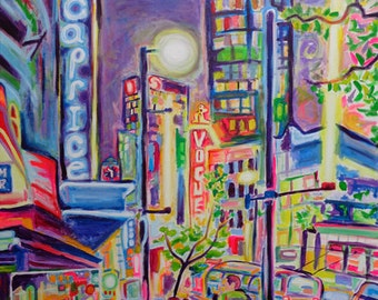 Art Print, Granville At The Warehouse, Vancouver City Skyline Art